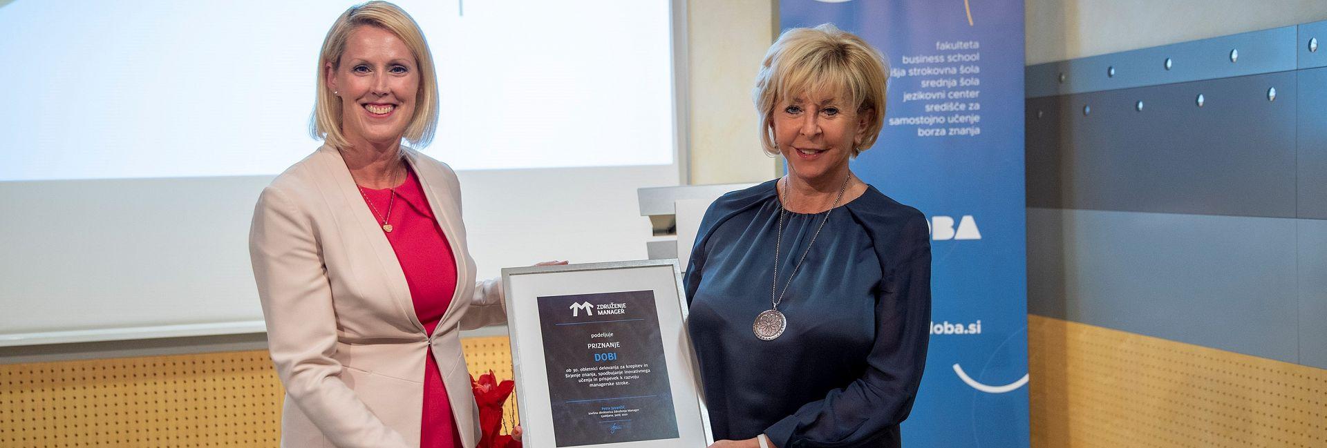 DOBA prejela priznanje Združenja manager