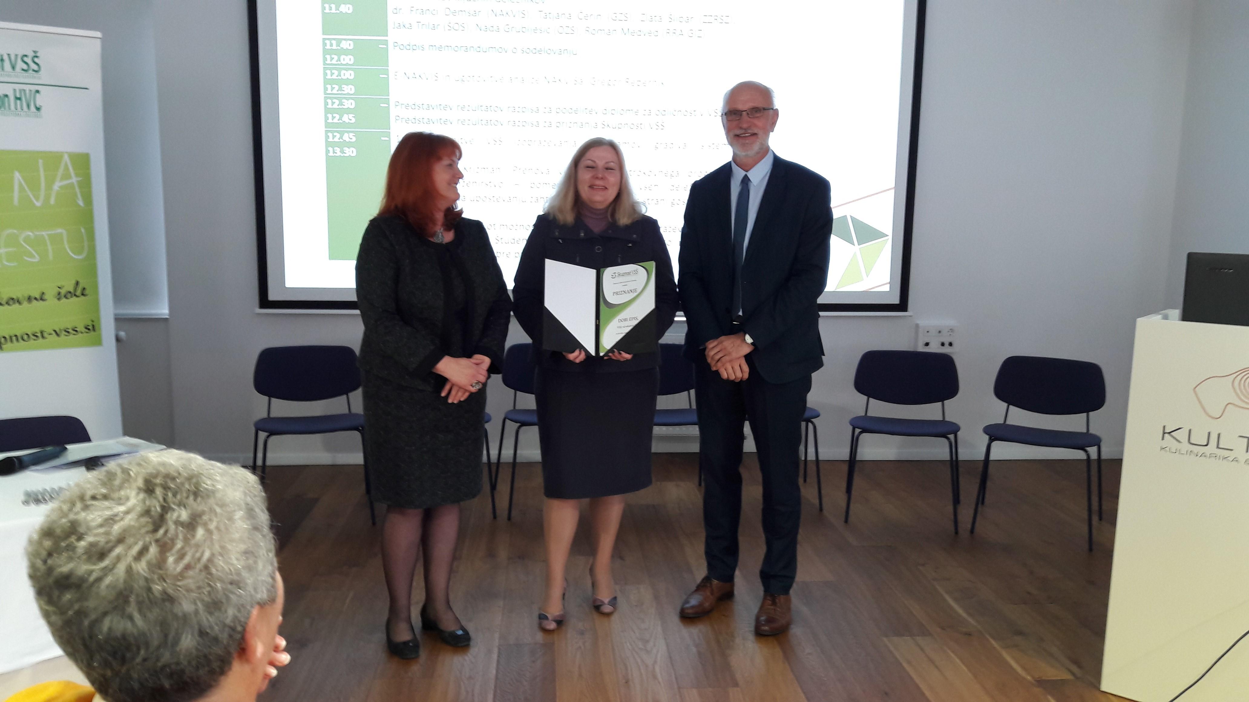 Višji strokovna šola prejela priznanje Skupnosti VSŠ za kakovostno 20-letno delo